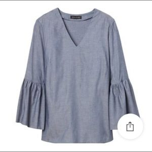 Chambray V Neck with Bell Sleeves
